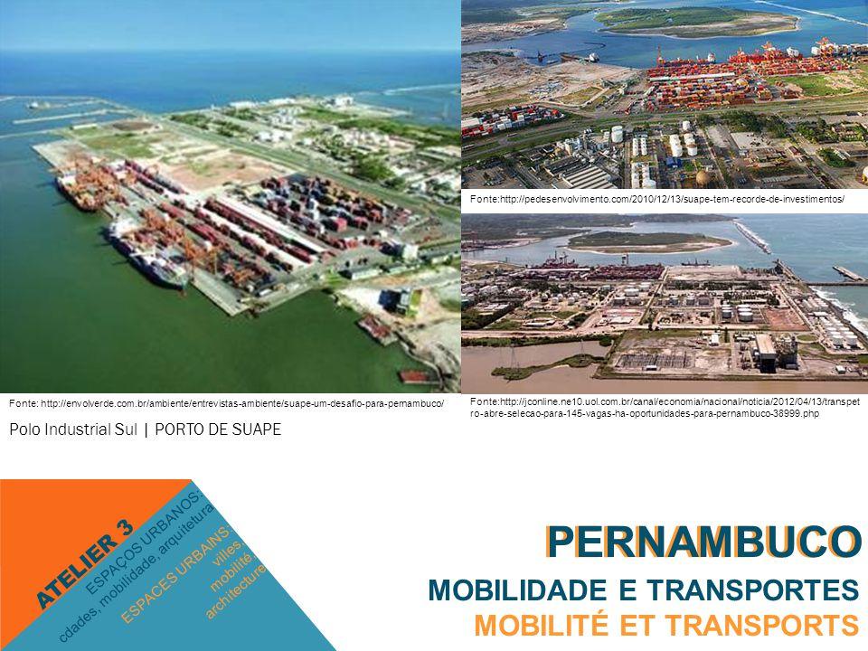 PERNAMBUCO MOBILIDADE E TRANSPORTES MOBILITÉ ET TRANSPORTS ESPACES URBAINS: villes, mobilité, architecture ESPAÇOS URBANOS: cdades, mobilidade, arquitetura ATELIER 3 PERNAMBUCO Polo Industrial Sul | PORTO DE SUAPE Fonte: http://envolverde.com.br/ambiente/entrevistas-ambiente/suape-um-desafio-para-pernambuco/ Fonte:http://pedesenvolvimento.com/2010/12/13/suape-tem-recorde-de-investimentos/ Fonte:http://jconline.ne10.uol.com.br/canal/economia/nacional/noticia/2012/04/13/transpet ro-abre-selecao-para-145-vagas-ha-oportunidades-para-pernambuco-38999.php