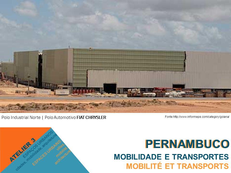 PERNAMBUCO MOBILIDADE E TRANSPORTES MOBILITÉ ET TRANSPORTS ESPACES URBAINS: villes, mobilité, architecture ESPAÇOS URBANOS: cdades, mobilidade, arquitetura ATELIER 3 PERNAMBUCO Polo Industrial Sul | PORTO DE SUAPE Polo Industrial Norte | Polo Automotivo FIAT CHRYSLER Fonte:http://www.informepe.com/category/goiana/