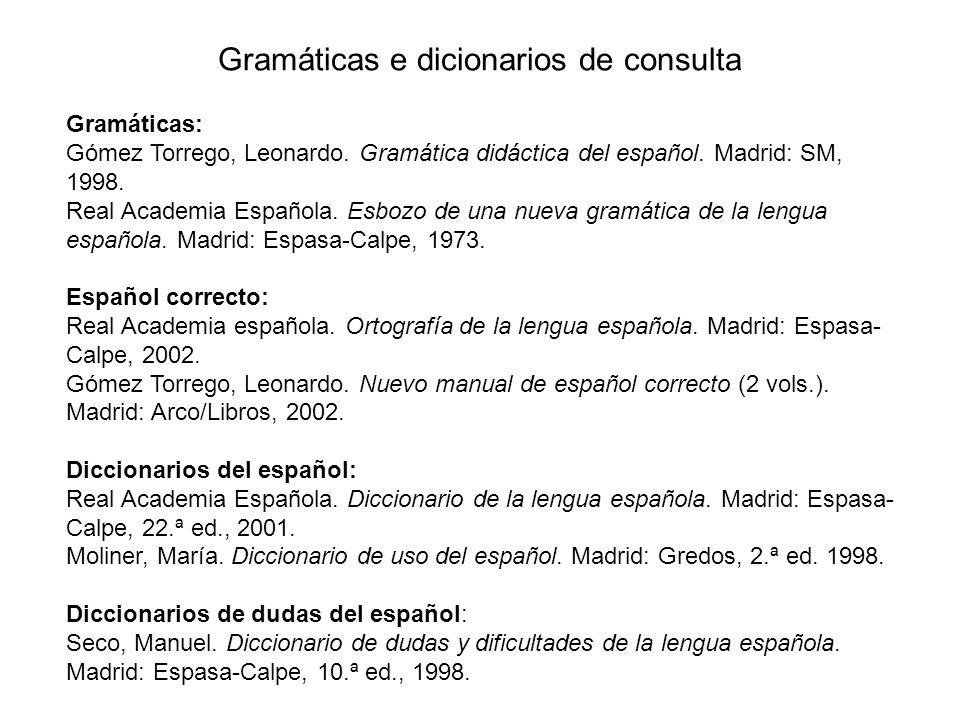 Gramáticas e dicionarios de consulta Gramáticas: Gómez Torrego, Leonardo. Gramática didáctica del español. Madrid: SM, 1998. Real Academia Española. E