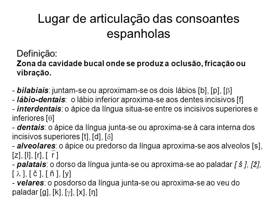 Lugar de articulação das consoantes espanholas Definição: Zona da cavidade bucal onde se produz a oclusão, fricação ou vibração. - bilabiais: juntam-s
