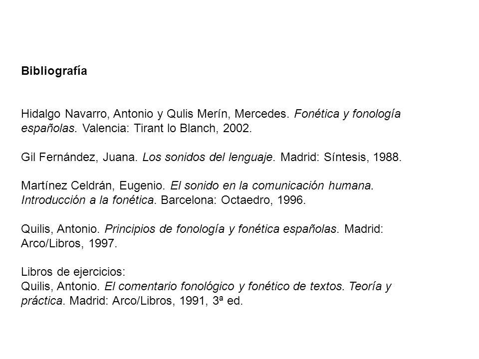 Bibliografía Hidalgo Navarro, Antonio y Qulis Merín, Mercedes. Fonética y fonología españolas. Valencia: Tirant lo Blanch, 2002. Gil Fernández, Juana.