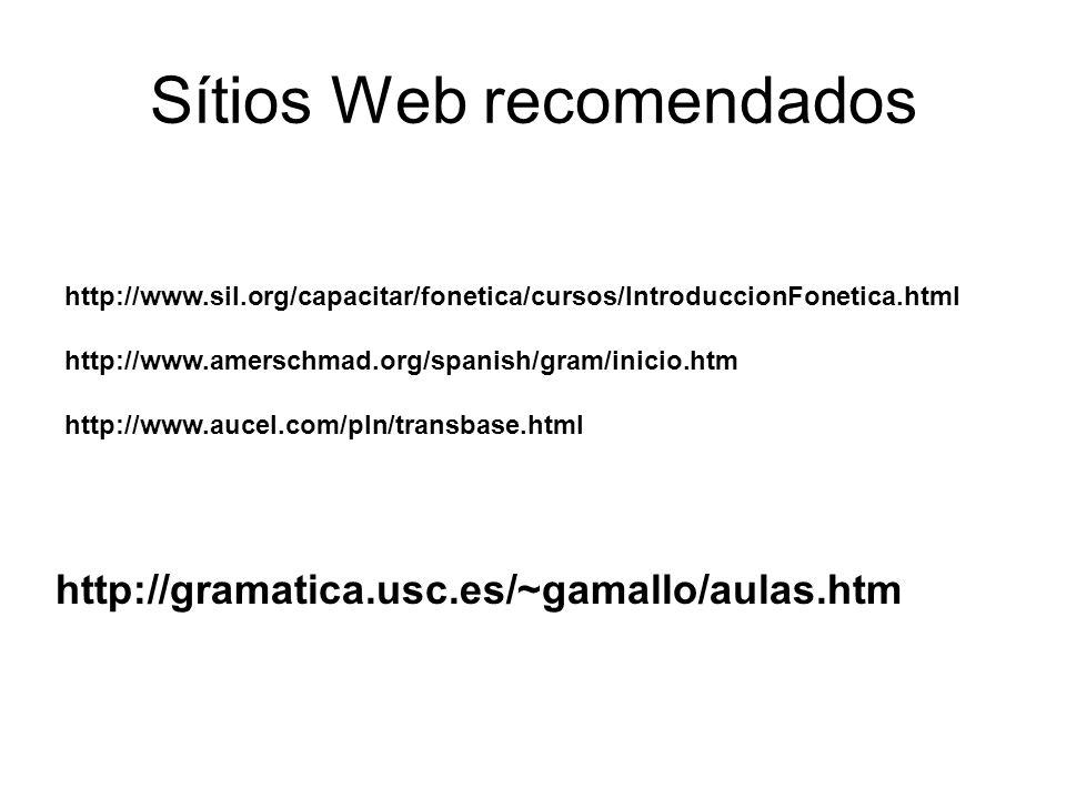 Sítios Web recomendados http://www.sil.org/capacitar/fonetica/cursos/IntroduccionFonetica.html http://www.amerschmad.org/spanish/gram/inicio.htm http: