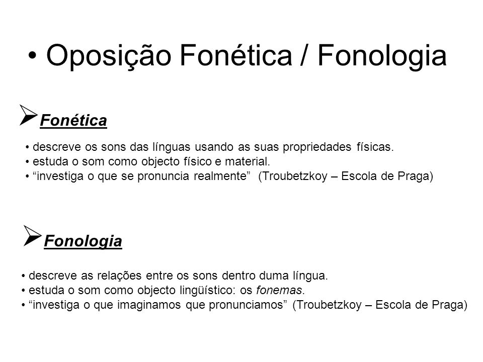 Oposição Fonética / Fonologia  Fonética descreve os sons das línguas usando as suas propriedades físicas. estuda o som como objecto físico e material