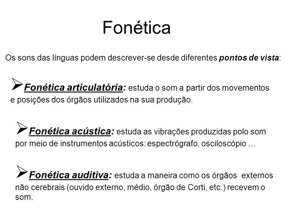 Fonética Os sons das línguas podem descrever-se desde diferentes pontos de vista:  Fonética articulatória: estuda o som a partir dos movementos e pos