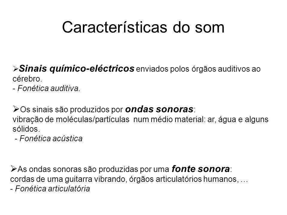 Características do som  Sinais químico-eléctricos enviados polos órgãos auditivos ao cérebro. - Fonética auditiva.  Os sinais são produzidos por ond