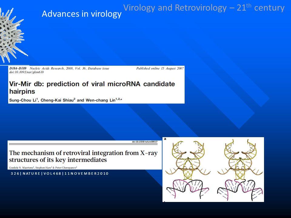 Virology and Retrovirology – 21 th century 3 2 6 | N AT U R E | V O L 4 6 8 | 1 1 N O V E M B E R 2 0 1 0 Advances in virology