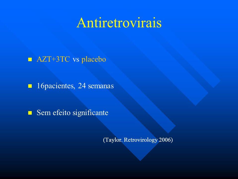 Antiretrovirais AZT+3TC vs placebo 16pacientes, 24 semanas Sem efeito significante (Taylor.