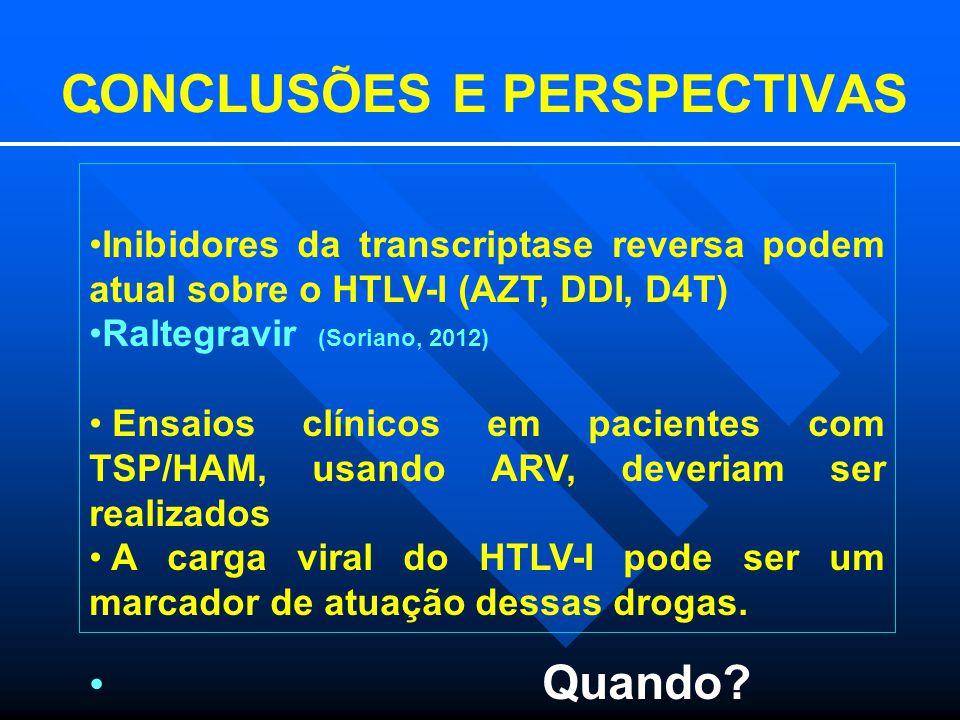 CONCLUSÕES E PERSPECTIVAS Inibidores da transcriptase reversa podem atual sobre o HTLV-I (AZT, DDI, D4T) Raltegravir (Soriano, 2012) Ensaios clínicos em pacientes com TSP/HAM, usando ARV, deveriam ser realizados A carga viral do HTLV-I pode ser um marcador de atuação dessas drogas.