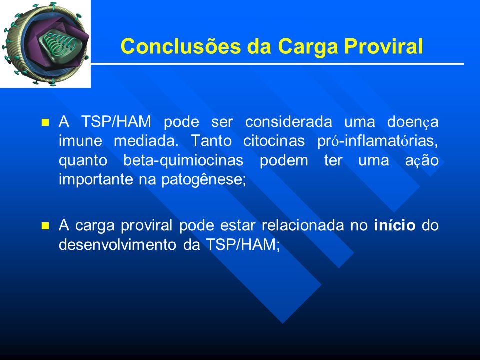 Conclusões da Carga Proviral A TSP/HAM pode ser considerada uma doen ç a imune mediada.