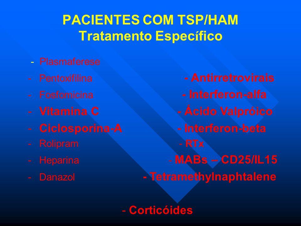 PACIENTES COM TSP/HAM Tratamento Espec í fico - Plasmaferese -Pentoxifilina - Antirretrovirais -Fosfomicina - Interferon-alfa -Vitamina C - Ácido Valpróico -Ciclosporina-A - Interferon-beta -Rolipram - RTx -Heparina - MABs – CD25/IL15 -Danazol - Tetramethylnaphtalene - Corticóides