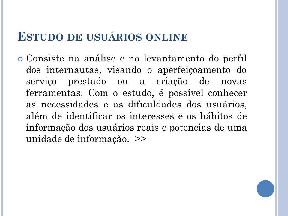 E STUDO DE USUÁRIOS ONLINE De acordo com Nice Menezes de Figueiredo, o estudo de usuários é uma investigação feita para saber se a necessidade informacional dos usuários está sendo satisfeita de maneira adequada.