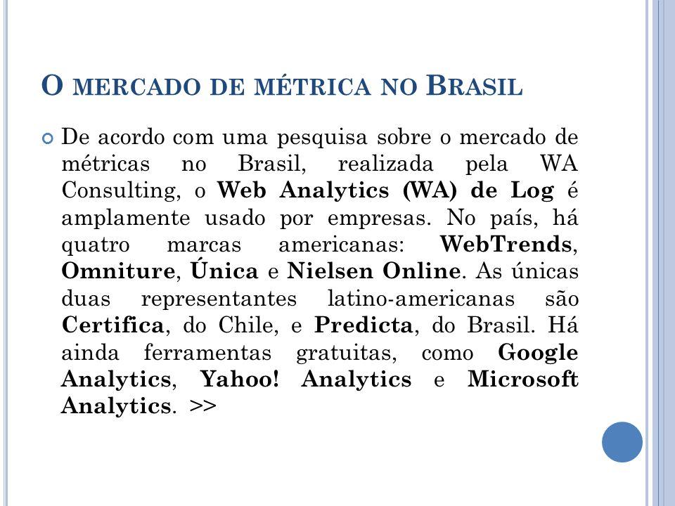 O MERCADO DE MÉTRICA NO B RASIL De acordo com uma pesquisa sobre o mercado de métricas no Brasil, realizada pela WA Consulting, o Web Analytics (WA) de Log é amplamente usado por empresas.