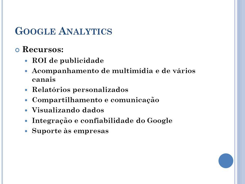 G OOGLE A NALYTICS Recursos: ROI de publicidade Acompanhamento de multimídia e de vários canais Relatórios personalizados Compartilhamento e comunicação Visualizando dados Integração e confiabilidade do Google Suporte às empresas