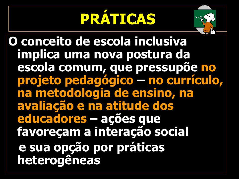 PRÁTICAS O conceito de escola inclusiva implica uma nova postura da escola comum, que pressupõe no projeto pedagógico – no currículo, na metodologia d