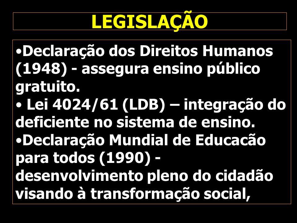 Declaração dos Direitos Humanos (1948) - assegura ensino público gratuito. Lei 4024/61 (LDB) – integração do deficiente no sistema de ensino. Declaraç