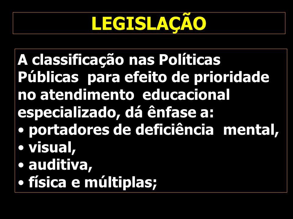 LEGISLAÇÃO A classificação nas Políticas Públicas para efeito de prioridade no atendimento educacional especializado, dá ênfase a: portadores de defic