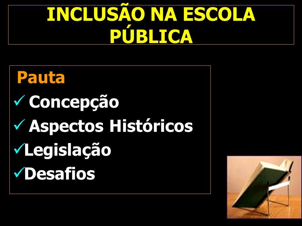 INCLUSÃO NA ESCOLA PÚBLICA Pauta Concepção Aspectos Históricos Legislação Desafios