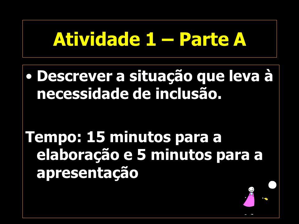 Atividade 1 – Parte A Descrever a situação que leva à necessidade de inclusão. Tempo: 15 minutos para a elaboração e 5 minutos para a apresentação