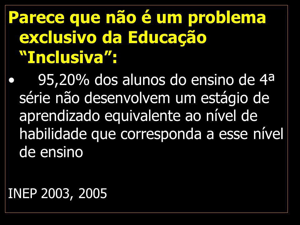 """Parece que não é um problema exclusivo da Educação """"Inclusiva"""": 95,20% dos alunos do ensino de 4ª série não desenvolvem um estágio de aprendizado equi"""