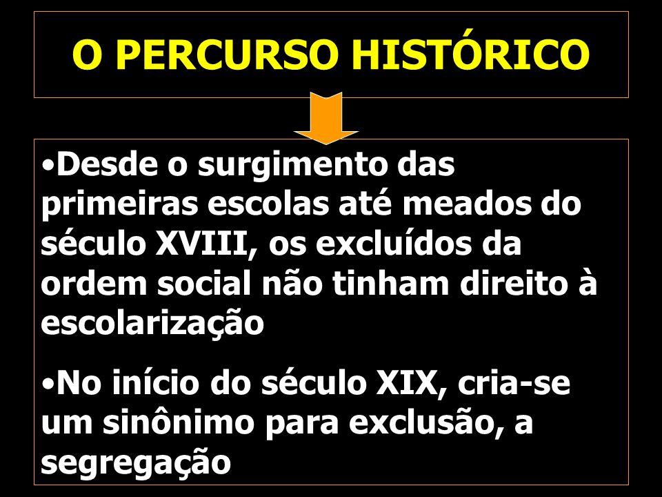 O PERCURSO HISTÓRICO Desde o surgimento das primeiras escolas até meados do século XVIII, os excluídos da ordem social não tinham direito à escolariza