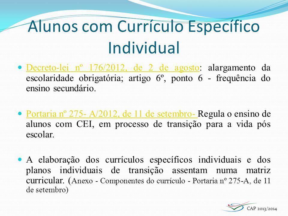 Alunos com Currículo Específico Individual Decreto-lei nº 176/2012, de 2 de agosto: alargamento da escolaridade obrigatória; artigo 6º, ponto 6 - freq
