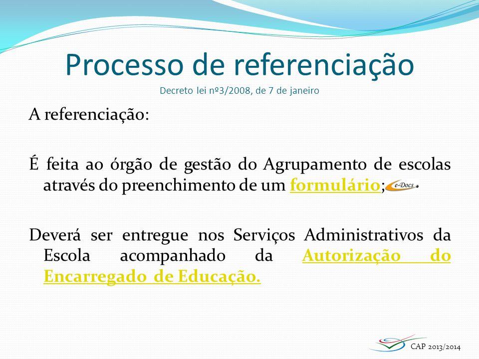 Processo de referenciação Decreto lei nº3/2008, de 7 de janeiro A referenciação: É feita ao órgão de gestão do Agrupamento de escolas através do preen
