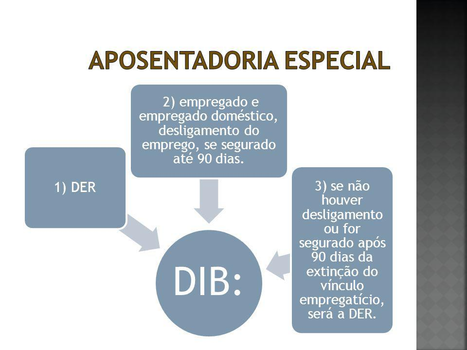 DIB: 1) DER 2) empregado e empregado doméstico, desligamento do emprego, se segurado até 90 dias. 3) se não houver desligamento ou for segurado após 9