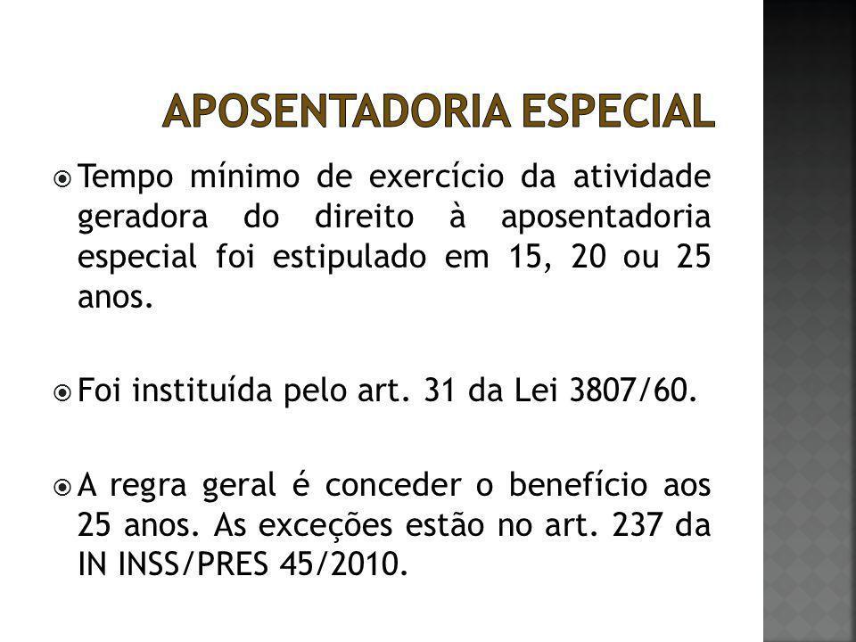  Tempo mínimo de exercício da atividade geradora do direito à aposentadoria especial foi estipulado em 15, 20 ou 25 anos.  Foi instituída pelo art.