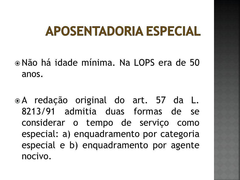  Não há idade mínima. Na LOPS era de 50 anos.  A redação original do art. 57 da L. 8213/91 admitia duas formas de se considerar o tempo de serviço c