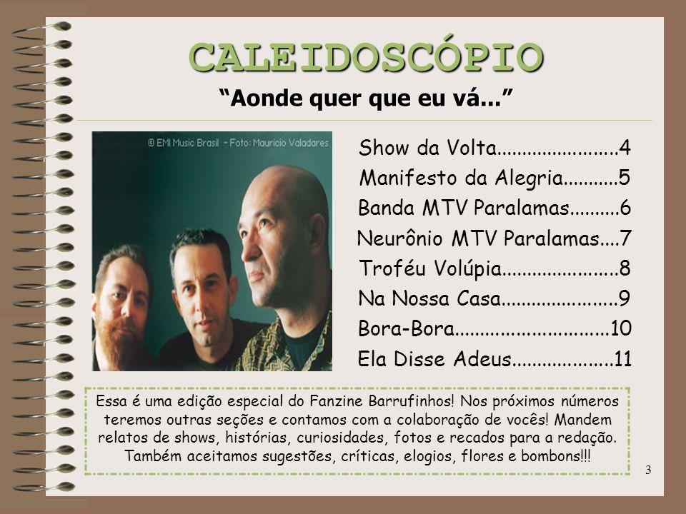 """3 CALEIDOSCÓPIO """"Aonde quer que eu vá..."""" Show da Volta........................4 Manifesto da Alegria...........5 Banda MTV Paralamas..........6 Neurô"""