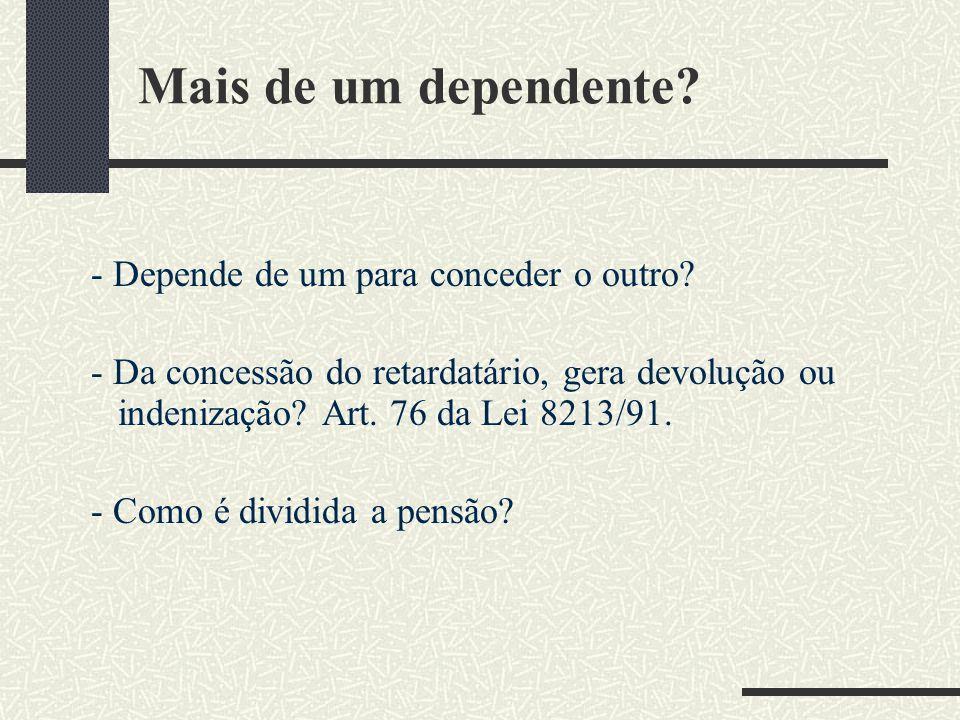 """Reflexão sobre a Hierarquia dos dependentes! A LOPS art 37 descreve: """"A importância da pensão devida ao conjunto de dependentes do segurado será const"""
