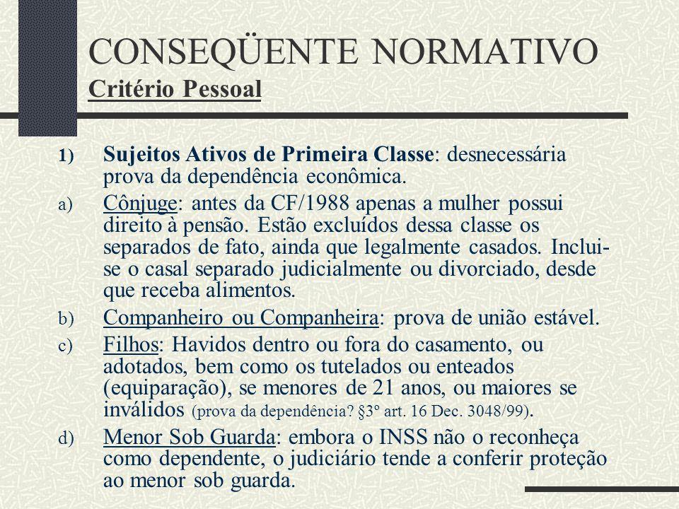 CONSEQÜENTE NORMATIVO Critério Pessoal: a) Sujeito Passivo: INSS b) Sujeito Ativo: dependentes do segurado (art. 16 e art. 18 Lei 8.213/1991. Dependen
