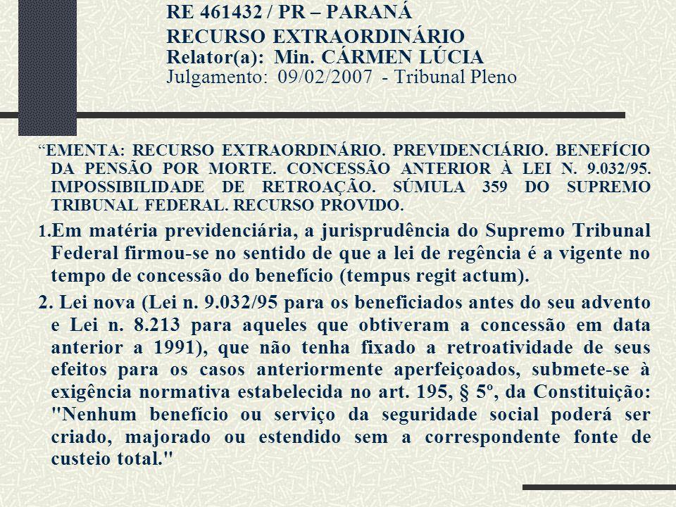 Jurisprudência CNJ: SÚMULA Nº 15 - CANCELADA - DJ 08/05/2007 O valor mensal da pensão por morte concedida antes da Lei nº 9.032, de 28 de abril de 199