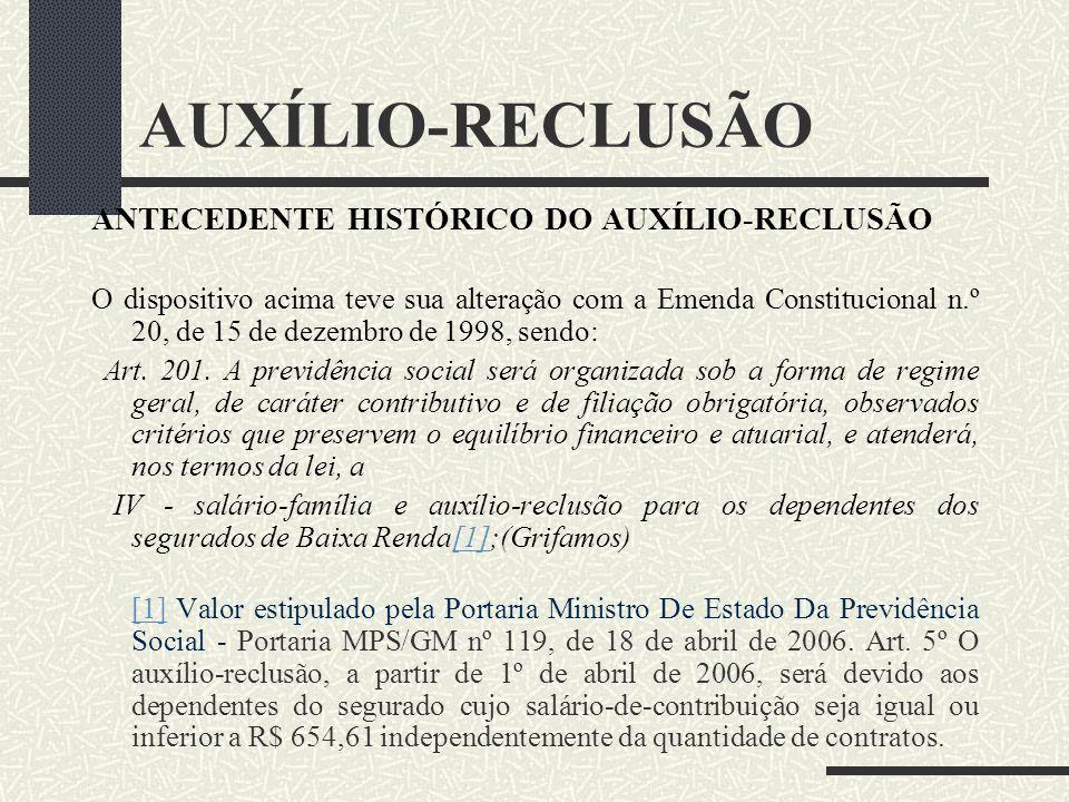 AUXÍLIO-RECLUSÃO ANTECEDENTE HISTÓRICO DO AUXÍLIO- RECLUSÃO Apesar do auxílio-reclusão estar presente na Seguridade Social desde de 1933, instituído p
