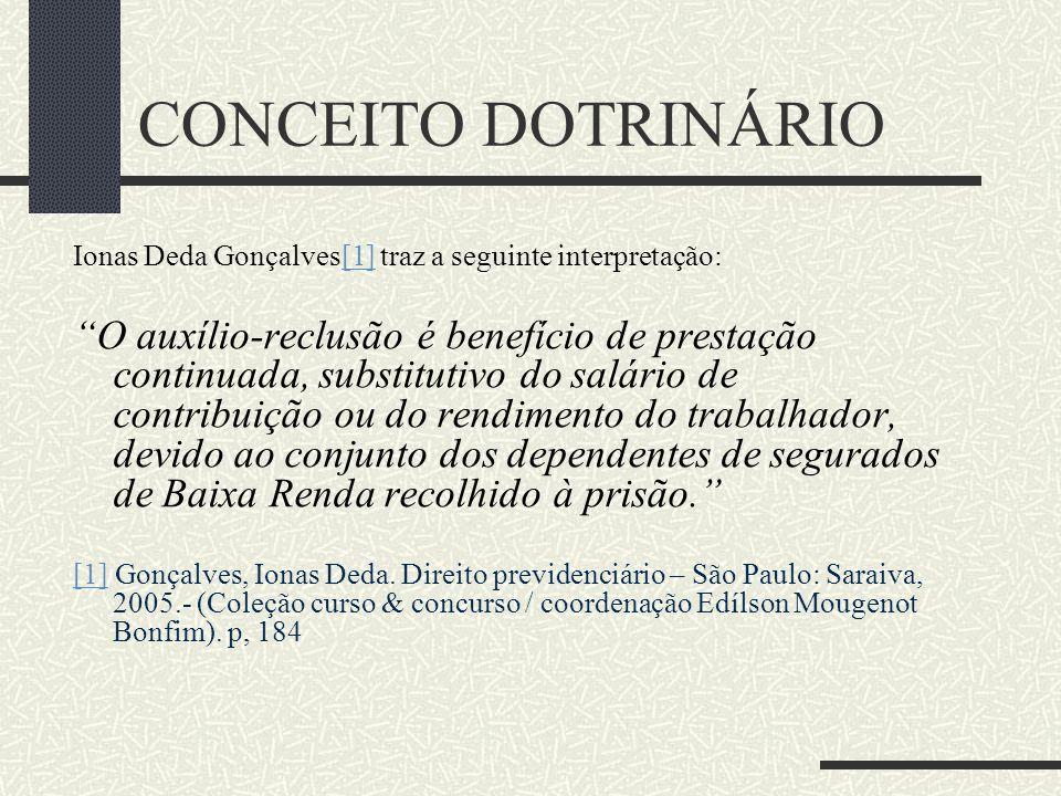 """CONCEITO DOTRINÁRIO Hermes Arrais Alencar[1] conceitua auxílio-reclusão como:[1] """"É o benefício devido, nas mesmas condições do benefício de pensão po"""