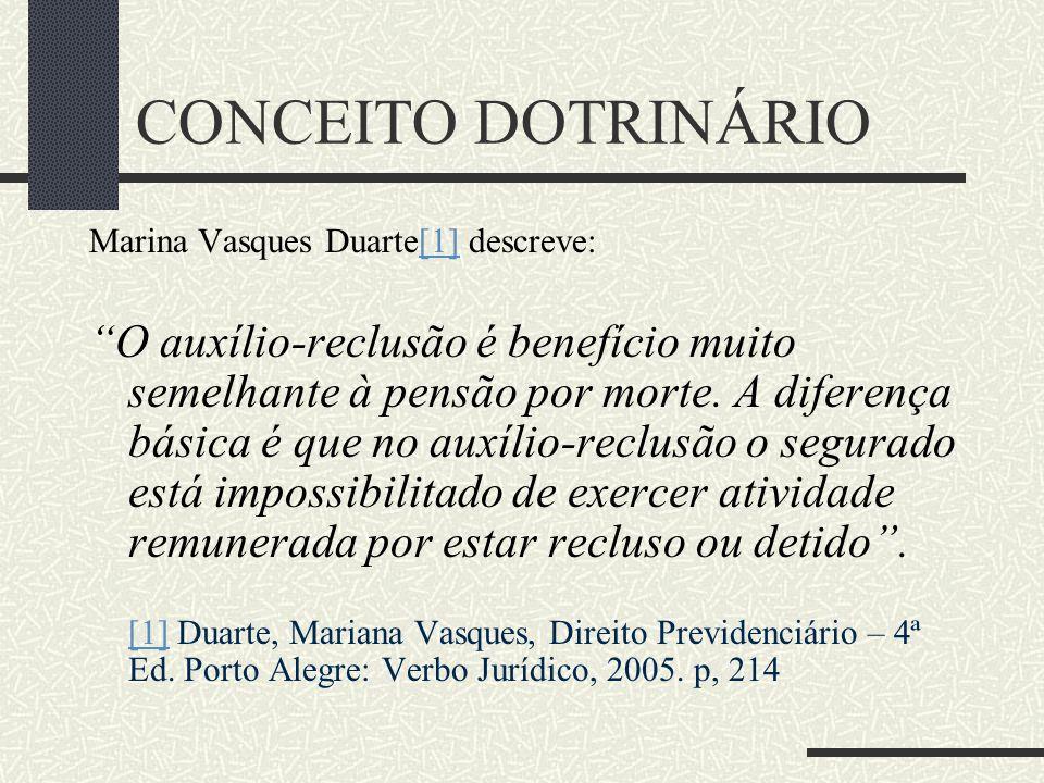 """CONCEITO DOTRINÁRIO Ionas Deda Gonçalves[1] traz a seguinte interpretação:[1] """"O auxílio-reclusão é benefício de prestação continuada, substitutivo do"""