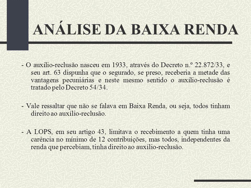 Segurado de Baixa Renda Sálário de contribuição inferior a R$ 798,30 A Baixa Renda nasceu através de Emenda Constitucional com o objetivo de reduzir a