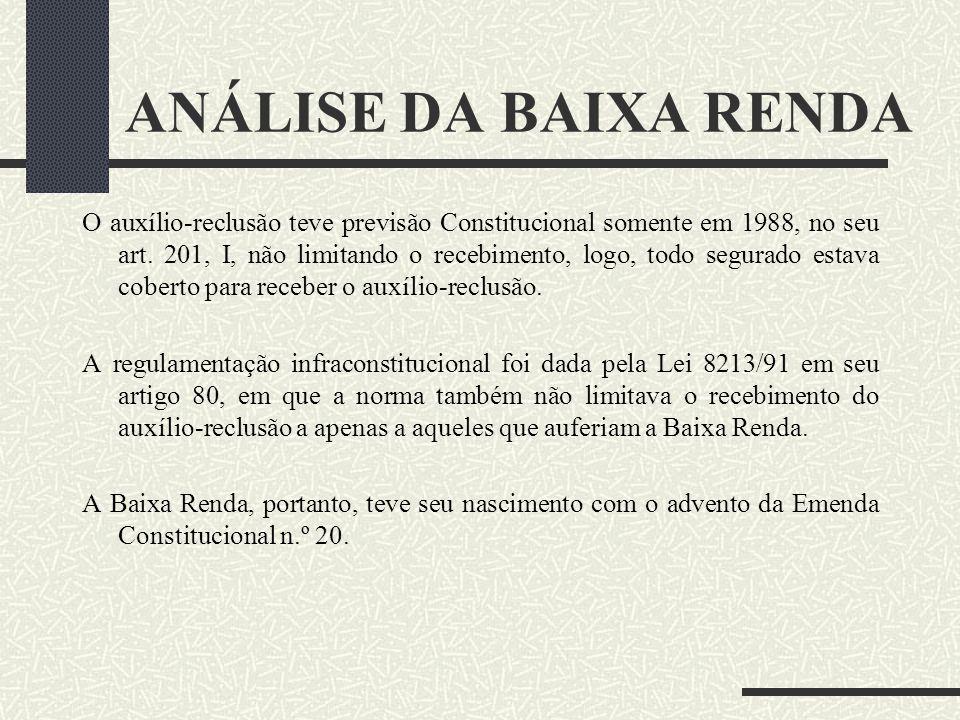 ANÁLISE DA BAIXA RENDA - O auxílio-reclusão nasceu em 1933, através do Decreto n.º 22.872/33, e seu art. 63 dispunha que o segurado, se preso, receber