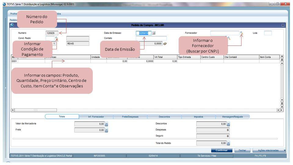 Informar Condição de Pagamento Data de Emissão Informar o Fornecedor (Buscar por CNPJ) Número do Pedido Informar os campos: Produto, Quantidade, Preço