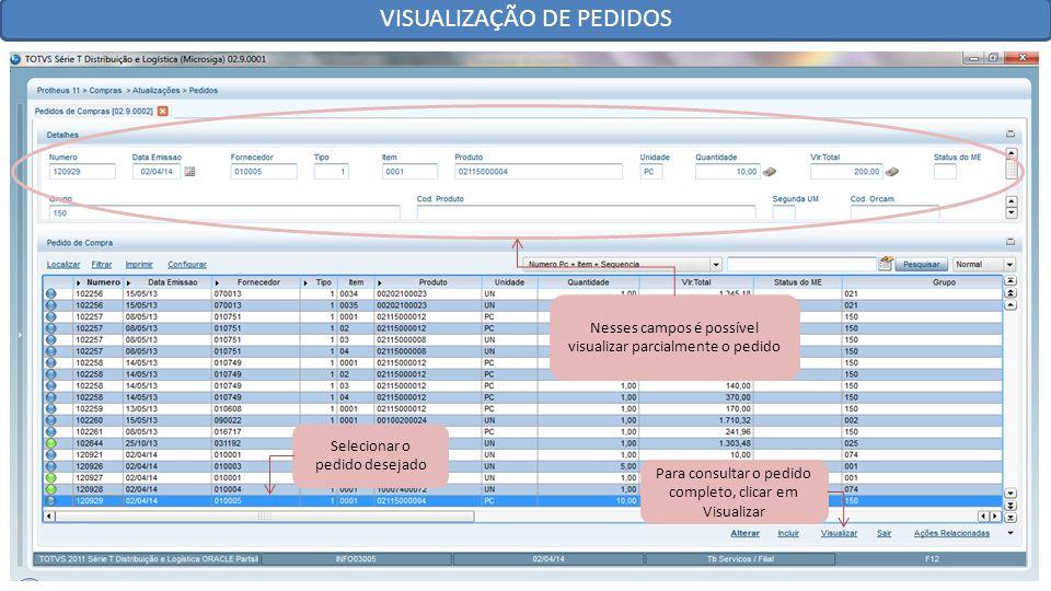 VISUALIZAÇÃO DE PEDIDOS Selecionar o pedido desejado Nesses campos é possível visualizar parcialmente o pedido Para consultar o pedido completo, clicar em Visualizar