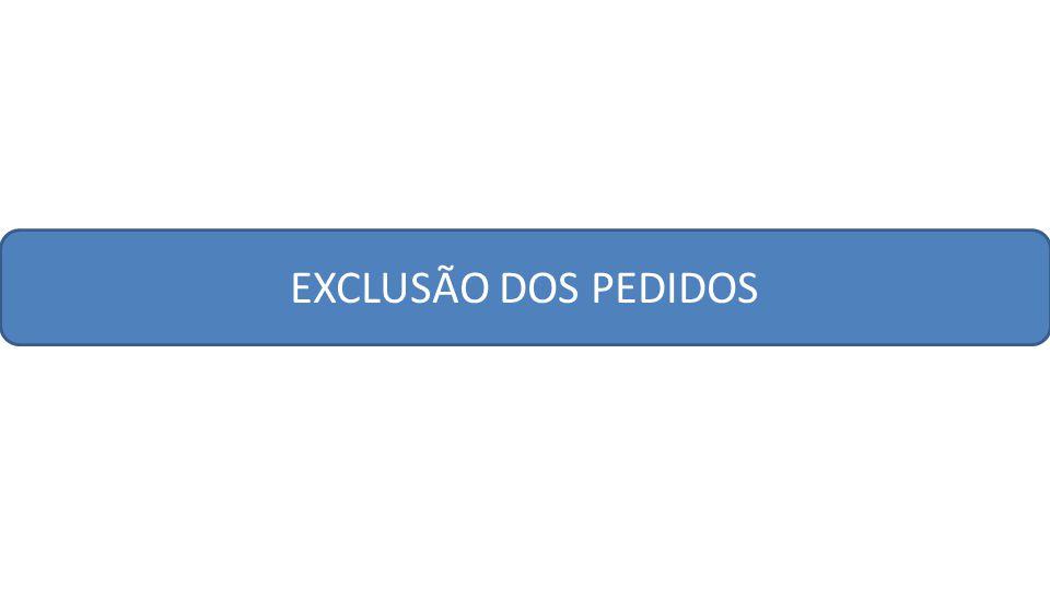 EXCLUSÃO DOS PEDIDOS