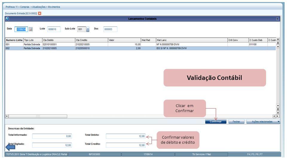 Validação Contábil Confirmar valores de débito e crédito Clicar em Confirmar