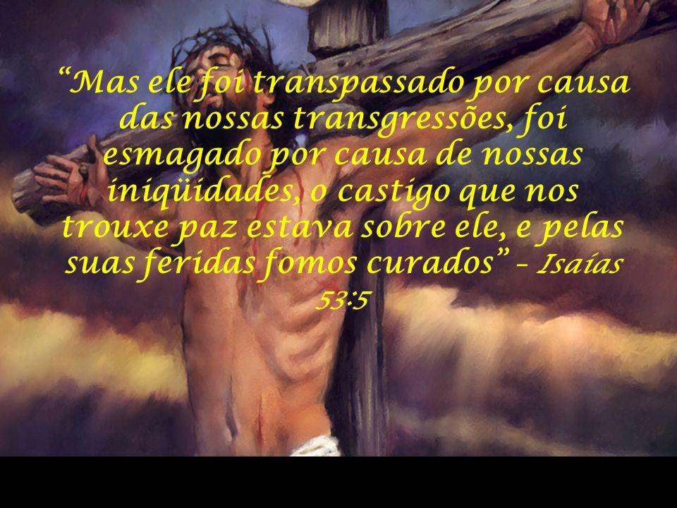 """""""Mas ele foi transpassado por causa das nossas transgressões, foi esmagado por causa de nossas iniqüidades, o castigo que nos trouxe paz estava sobre"""