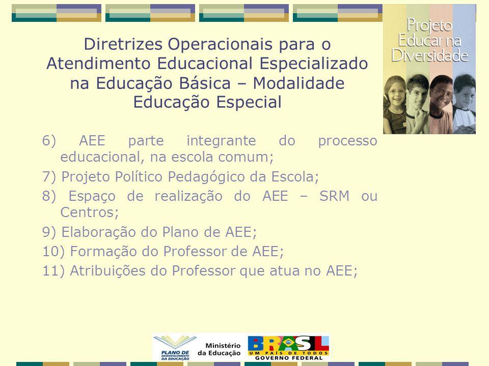 6) AEE parte integrante do processo educacional, na escola comum; 7) Projeto Político Pedagógico da Escola; 8) Espaço de realização do AEE – SRM ou Centros; 9) Elaboração do Plano de AEE; 10) Formação do Professor de AEE; 11) Atribuições do Professor que atua no AEE;