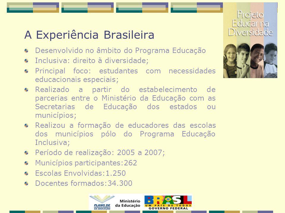 A Experiência Brasileira Desenvolvido no âmbito do Programa Educação Inclusiva: direito à diversidade; Principal foco: estudantes com necessidades educacionais especiais; Realizado a partir do estabelecimento de parcerias entre o Ministério da Educação com as Secretarias de Educação dos estados ou municípios; Realizou a formação de educadores das escolas dos municípios pólo do Programa Educação Inclusiva; Período de realização: 2005 a 2007; Municípios participantes:262 Escolas Envolvidas:1.250 Docentes formados:34.300