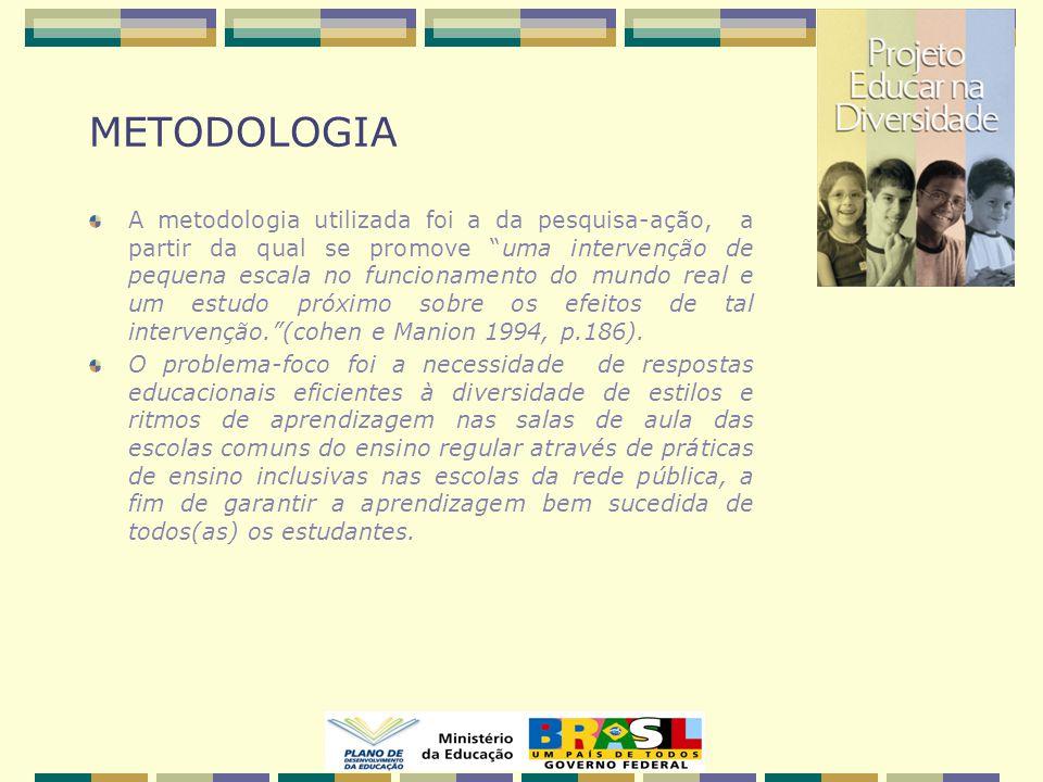 METODOLOGIA A metodologia utilizada foi a da pesquisa-ação, a partir da qual se promove uma intervenção de pequena escala no funcionamento do mundo real e um estudo próximo sobre os efeitos de tal intervenção. (cohen e Manion 1994, p.186).