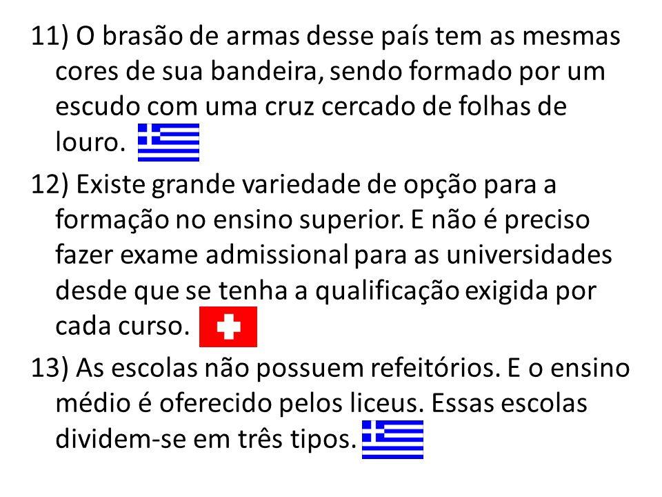 11) O brasão de armas desse país tem as mesmas cores de sua bandeira, sendo formado por um escudo com uma cruz cercado de folhas de louro. 12) Existe