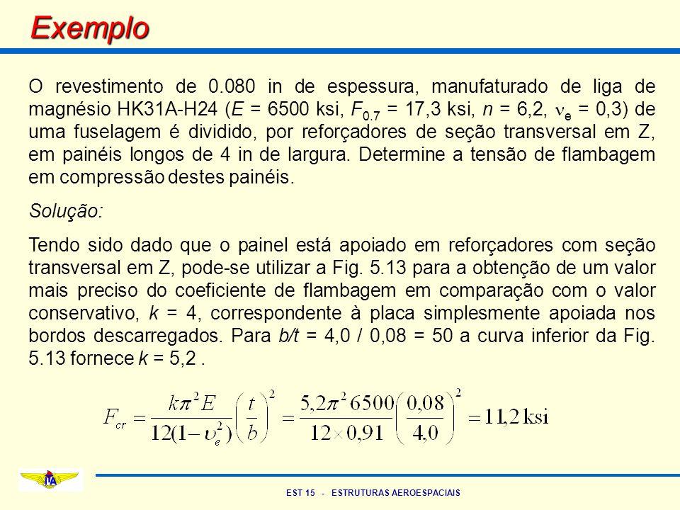 EST 15 - ESTRUTURAS AEROESPACIAIS Exemplo O revestimento de 0.080 in de espessura, manufaturado de liga de magnésio HK31A-H24 (E = 6500 ksi, F 0.7 = 1