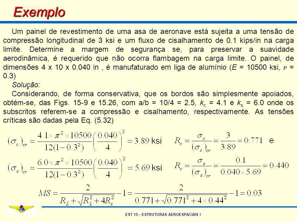 EST 15 – ESTRUTURAS AEROESPACIAIS I Exemplo Um painel de revestimento de uma asa de aeronave está sujeita a uma tensão de compressão longitudinal de 3