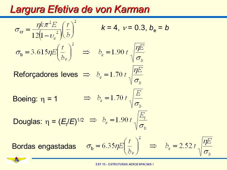 EST 15 – ESTRUTURAS AEROESPACIAIS I Largura Efetiva de von Karman k = 4, = 0.3, b e = b Reforçadores leves Boeing:  = 1 Douglas:  = (E t /E) 1/2 Bor